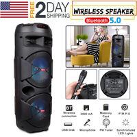 "Portable Bluetooth Karaoke Machine Speaker 20w 2 Wireless Mics 6.5"" LED Light US"