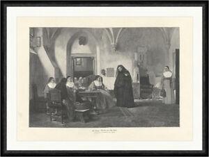 Die Novize Gemälde Otto Wolf Nonne Kloster Gewölbe 1888 Faksimile_C 2173 Gerahmt