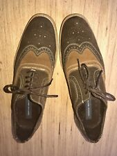 Mens Giorgio Brutini Size 9 Brown And Carmel Suede Wing Tip Shoes