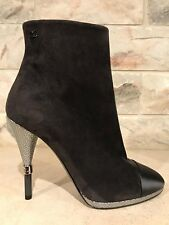 NIB Chanel 16B Grey Black Suede Cone Silver CC High Heel Ankle Boots 40 $1300