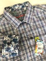 """Robert Graham XL Long Sleeve Flip Cuff Button Plaid & Paisley """"Bock"""" Shirt Blue"""