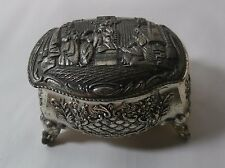 Vintage Japan Metal Footed Trinket Box - Royal Mother & Baby Scene - Red Lining