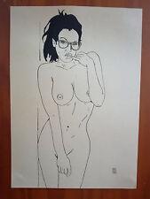 """Dessin encre de chine erotique, nu féminin fine art """"coquine"""" A4 Par Jean Carré"""