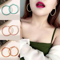 1Pair Hoop Earrings Large Hoop Girls Party Exaggerate Solid Color Ear Jewelry