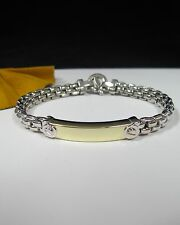 14k Yellow White Gold Bar Link Tag Wide Men's Bracelet Two Tone 7''