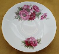 Vintage Queen Anne Bone China D976 Saucer Fuschia Flower Pattern Gold Trim