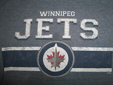 NHL Winnepeg Jets Canadian Hockey Team Blue 50/50 Graphic Print T Shirt - S