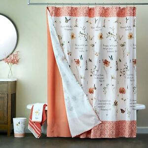Inspire 14-Piece Set Fabric Shower Curtain Bible Quote Floral Butterfly Bathroom