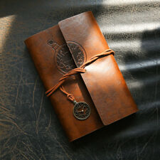 A6 Retro Leather Cover Notebook Journal Vintage Blank Paper Diary Planner