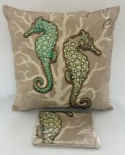 Set x2 NEW Decorative Home Bedding Decor Zip Up Seahorses Cover