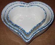 Vintage Lillian Vernon Stoneware Heart Nesting Bowls Set/3 in Original Box
