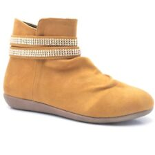 LADIES WOMEN'S FLAT ANKLE BOOTS WINTER SHOES FAUX SUEDE UK SIZE Fm-1