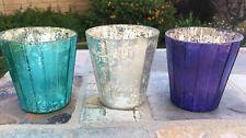 Pottery Barn Mercury Glass Set Of 3 Tea Light Holders. Blue, Purple And Pewter.