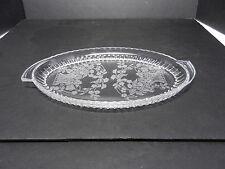 "New Martinsville Flower Basket Etch Sugar Cream Tray Clear 10 1/4"" L ca 1938-44"