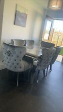 Louis Grey Marble 150CM Dining Table + Knockerback Chair Options