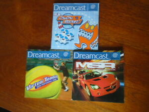 3 Sega Dreamcast Pal Game Manuals Virtua Tennis MSR Chu Chu Rocket Manuals only
