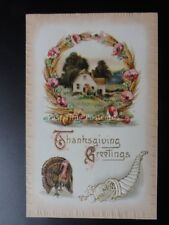 Embossed Poppy Postcard: TURKEY - THANKSGIVING GREETING c1910 by A.S.Meeker 936