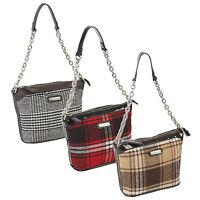 Designer Tartan Handbag With Metal Chain Ladies Celebrity Style Satchel Tote Bag