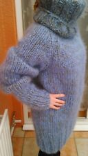 Long Fit Chunky Hand Knit mohair sweater
