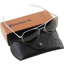 AO American Optical Aviator Matte Chrome Frames 57 mm Sunglasses Cosmentan Glass