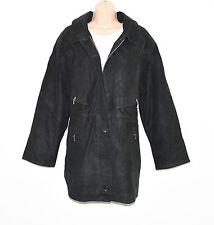 Vintage Black Leather Paded Parka Slouch 70's Retro Women's Coat Jacket Size XL