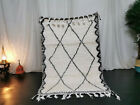 "Moroccan Handmade Beni Ourain Carpet 3'6""x5'5"" Berber Geometric White Wool Rug"