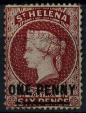 St. Helena 1864-80 SG#21, 1d Lake QV Type B Wmk CC Unused No Gum P14x12.5#D26897