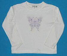 Girls white purple butterfly l/s t shirt top sz 5 NEW