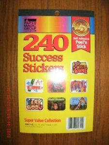 "240 Student Success Reward Stickers for teachers, parents 1 x 1.5"" self adhesive"