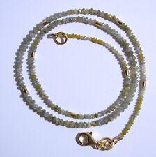 Edelsteine24 Echte Natur Diamant Kette gelb-grau Linsen fac. 1,9-3mm 42,5cm! K99