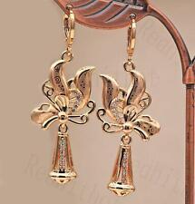 """18K Gold Filled 2"""" Earring Laser Carving Floret Swirl Windmill Bell Eardrop DS"""