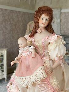 1994 Miniature Dollhouse Artisan Rosemary Tucker Porcelain Victorian Doll & Baby
