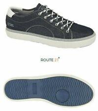 Mens Trainers Casual Pumps Denim Blue Lace-up Route 21  Size 6 7 8 9 10 11 12