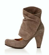 COCLICO SHOES ODANAK ANKLE WRAP BOOTIES GRAY SUEDE HEELS 7.5 NEW $360