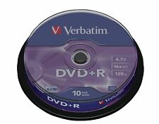 VERBATIM DVD + R Matt Silver DVD + R, 4.7gb 16x 10 Pack Spindle