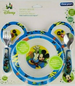 The First Years Disney Mickey Mouse Feeding set Bowl Plate Fork Spoon