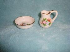 "Doll House Miniature Pitcher & Basin Gift Craft Porcelain 1.5"" tall"