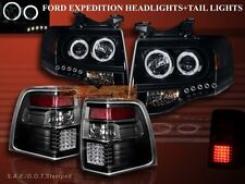 2007-2011 FORD EXPEDITION 2 HALO LED PROJECTOR HEADLIGHTS CCFL + LED TAIL LIGHTS