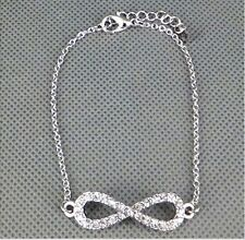 Fashion infinity Charm bowknot With the crystal bead Chain Hand Bracelet Jewelry