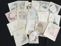 18 vintage Sympathy greeting cards 1960s floral religious cross scrapbooking