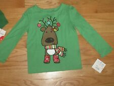 Toddler girl XMAS HOLIDAY WINTER REINDEER GREEN Top Shirt NWT 3T