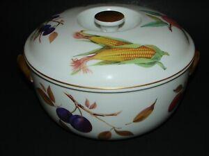 "Royal Worcester Porcelain Evesham Gold Round Knob Covered Casserole England 8.5"""