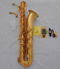 Prof. Gold Lacquer Eb Taishan Baritone Sax Brass Saxohone Low A high F# 2 necks