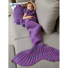 Childs Kids Fish Tail Mermaid Style Warm Knitted Blanket Purple Amethyst New