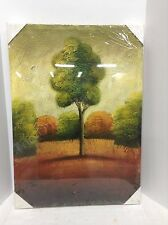 rustic Painted Autumn Green Tree Fall Country Scene canvas unframed artwork