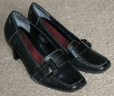 Aerosoles Heels Loafers Shoes Black Leather Womens Size 6M