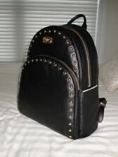 NWT Michael Kors ABBEY Large Gold Tone Studded Backpack Pebbled Leather BLACK