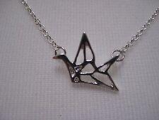 Origami Bird Necklace Silver Tone