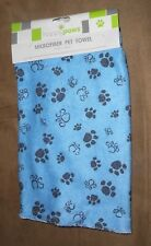 "Happy Paws Microfiber Blue Pet Towel - 19.69"" x 19.69"" - Brand NEW"