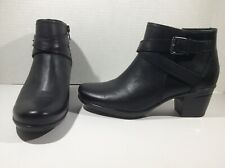 CLARKS Womens Emslie Cyndi Black Leather Booties Ankle Boots Shoes Sz 7 ZE-864